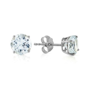 0.95 CTW 14K Solid White Gold Glacial Cool Aquamarine Earrings