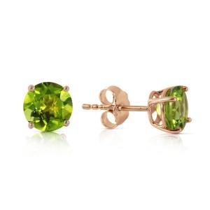 0.95 CTW 14K Solid Rose Gold Petite Peridot Stud Earrings