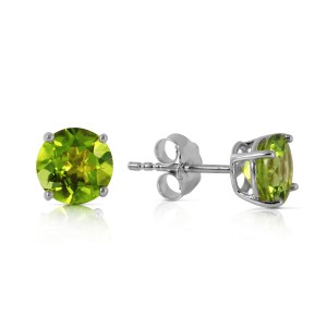 0.95 CTW 14K Solid White Gold I Know Why Peridot Earrings