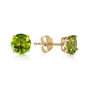 0.95 CTW 14K Solid Gold Fire And Determination Peridot Earrings