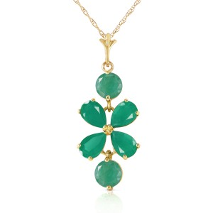 3.15 CTW 14K Solid Gold Spring Overflow Emerald Necklace