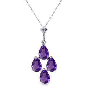 1.5 CTW 14K Solid White Gold Surreal Love Amethyst Necklace