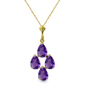 1.5 CTW 14K Solid Gold Sense And Sensations Amethyst Necklace