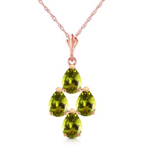2.25 CTW 14K Solid Rose Gold Pyramid Peridot Necklace