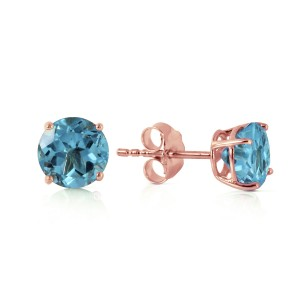 0.95 CTW 14K Solid Rose Gold Petite Blue Topaz Stud Earrings