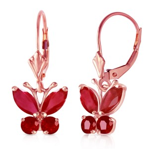 1.24 CTW 14K Solid Rose Gold Butterfly Earrings Natural Ruby