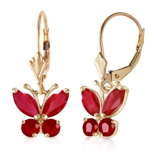 1.24 CTW 14K Solid Gold Butterfly Earrings Natural Ruby