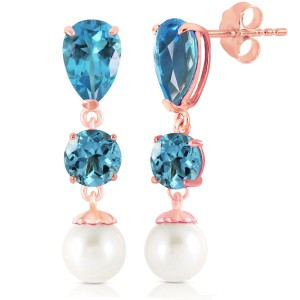 10.5 CTW 14K Solid Rose Gold Drop Earrings Blue Topaz And Cultured Pearl