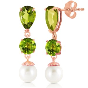 10.5 CTW 14K Solid Rose Gold Chandelier Earrings Peridot Cultured Pearl