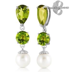 10.5 CTW 14K Solid White Gold Chandelier Earrings Peridot Cultured Pearl