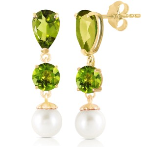 10.5 CTW 14K Solid Gold Chandelier Earrings Peridot Cultured Pearl