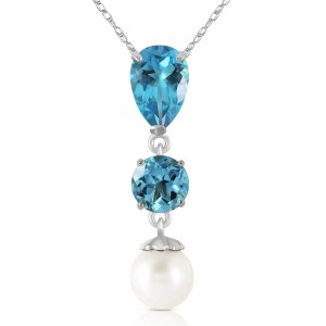 5.25 CTW 14K Solid White Gold Piece Of Heaven Blue Topaz Cultured Pearl Necklace