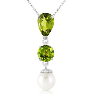 5.25 CTW 14K Solid White Gold Chat Blanc Peridot Cultured Pearl Necklace