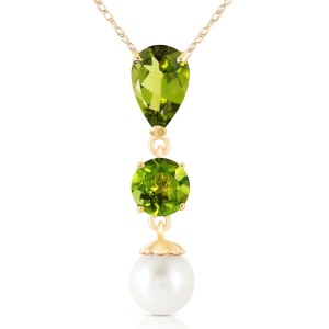 5.25 CTW 14K Solid Gold Flaming Heart Peridot Cultured Pearl Necklace