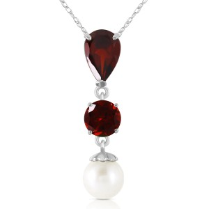 5.25 CTW 14K Solid White Gold Necklace Garnet Cultured Pearl