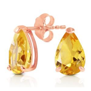 3.15 CTW 14K Solid Rose Gold Allure Citrine Stud Earrings