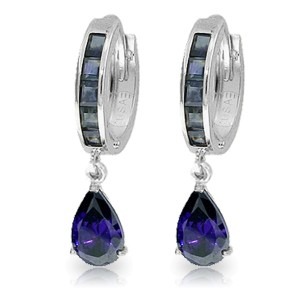 4.55 CTW 14K Solid White Gold Hoop Huggie Earrings Sapphire