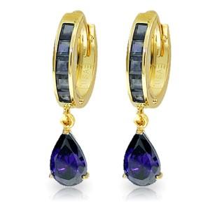 4.55 CTW 14K Solid Gold Hoop Huggie Earrings Sapphire