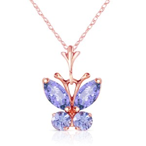 0.6 CTW 14K Solid Rose Gold Butterfly Necklace Tanzanite