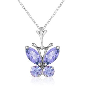 0.6 CTW 14K Solid White Gold Butterfly Necklace Tanzanite