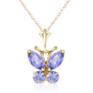0.6 CTW 14K Solid Gold Butterfly Necklace Tanzanite