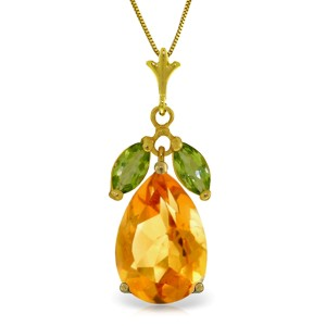 6.5 CTW 14K Solid Gold Necklace Citrine Peridot