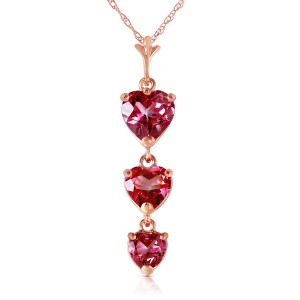 14K Solid Rose Gold Necklace with Natural Pink Topaz