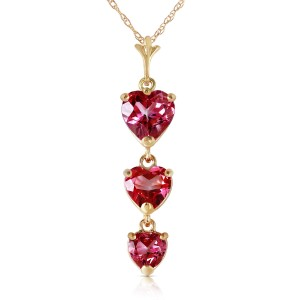 3.03 CTW 14K Solid Gold Hand On Heart Pink Topaz Necklace
