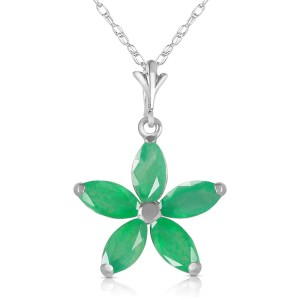 1.4 CTW 14K Solid White Gold Genre Emerald Necklace