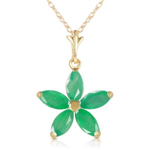 1.4 CTW 14K Solid Gold Lulu Emerald Necklace