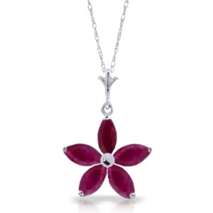 1.4 CTW 14K Solid White Gold Further To Go Ruby Necklace
