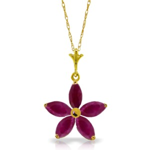 1.4 CTW 14K Solid Gold Festival Of Hope Ruby Necklace