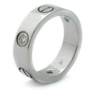 Cartier Love Ring 18K White Gold 3 Diamond Size 5.25