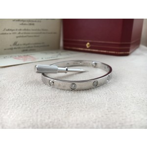 Cartier Love 18K White Gold & Diamonds Bracelet Size 18
