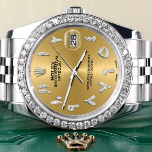 Rolex Datejust 116200 36mm 2ct Diamond Bezel/Champagne Diamond Arabic Dial Steel Watch