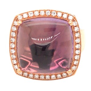 18k Rose Gold Cabochon Amethyst and Diamond Ring
