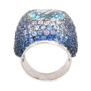 18k White Gold Sapphire and Topaz Cocktail Ring