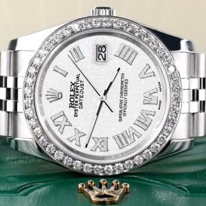 Rolex Datejust 116200 36mm 2.0ct Diamond Bezel/White Jubilee Diamond Roman Dial Steel Watch