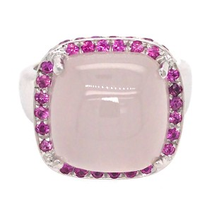 18k White Gold Rose Quartz and Pink Sapphire Ring
