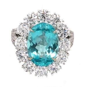 Rare Spectacular Blue Paraiba Tourmaline and Diamond Ring