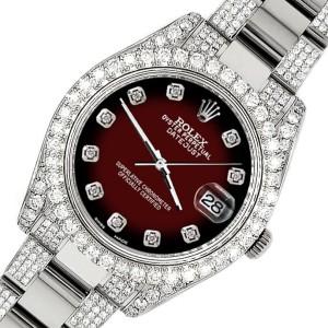 Rolex Datejust II 41mm Diamond Bezel/Lugs/Bracelet/Maroon Vignette Diamond Dial Steel Watch 116300