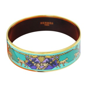 Hermes Enamel Metal Bangle Bracelet