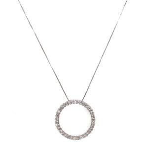 14k White Gold Circle of Life Diamond Pendant Necklace
