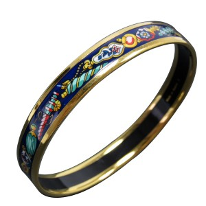 Hermes Gold Tone Metal Blue Cloisonne Bangle