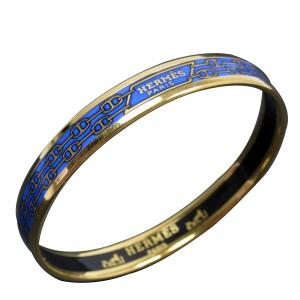 Hermes Gold Tone Metal Blue Cloisonne Bangle