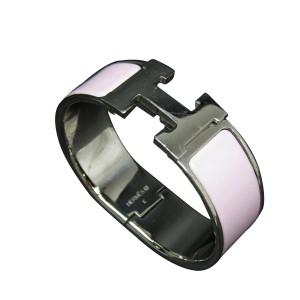 Hermes Silver Plated Pink Enamel Bangle Bracelet