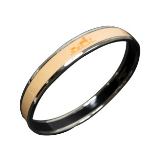 Hermes Silver Tone Metal Beige Enamel Bangle