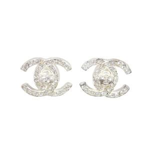 Chanel Silver Tone Rhinestones Earrings