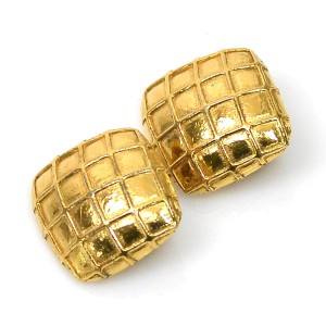 Hermes Gold Tone Metal Earrings