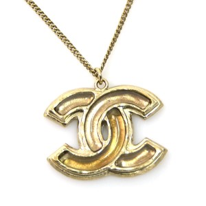 Chanel Gold Tone Metal CC Logo Plastic Necklace